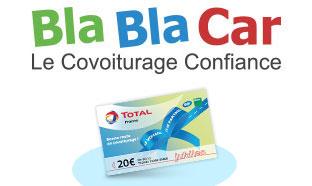 BlaBlaCar : Covoiturage = 20€ de carburant offert