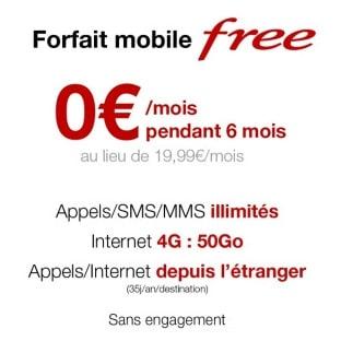 Forfait Free mobile gratuit : Illimité pendant 6 mois à 0€