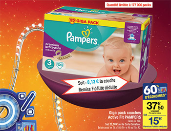 Promotions couches pampers chez carrefour 13 le giga pack - Promo couche pampers carrefour ...