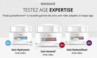 Test gratuit des soins Age Expertise de L'Oréal Paris