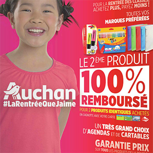 Auchan Fournitures scolaires : 2ème article 100% remboursé