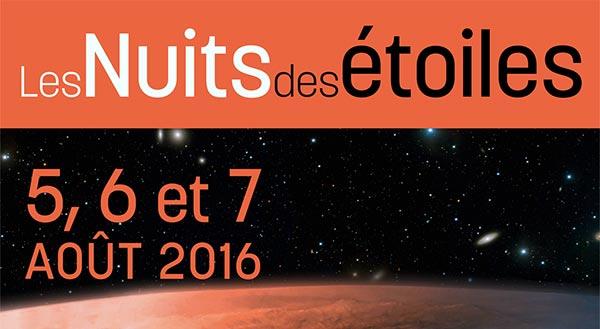 Les évènements de la nuit des étoiles 2016