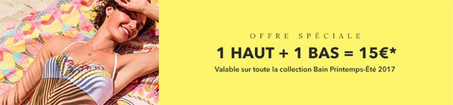 Maillots de bain Etam soldés : Ensemble Haut + Bas