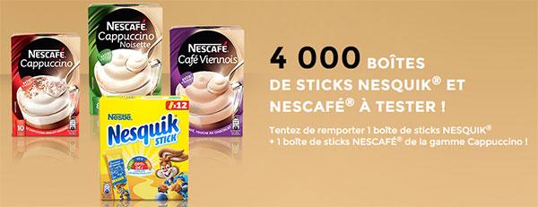 Testez gratuitement les sticks Nescafé Cappuccino et Nesquik