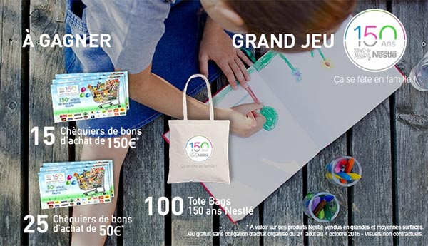 Les cadeaux à gagner au jeu 150 ans de Nestlé