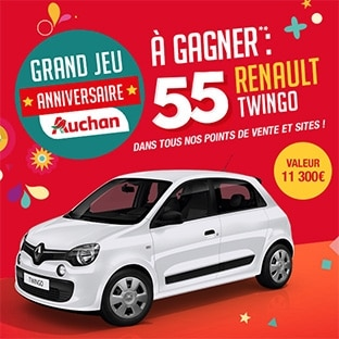 jeu 55 ans auchan 55 voitures renault twingo gagner. Black Bedroom Furniture Sets. Home Design Ideas