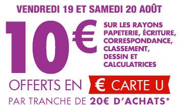 Super U : 10€ offerts tous les 20€ d'achats de fournitures scolaires