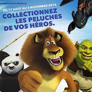 Vignettes Auchan : Peluches DreamWorks à collectionner