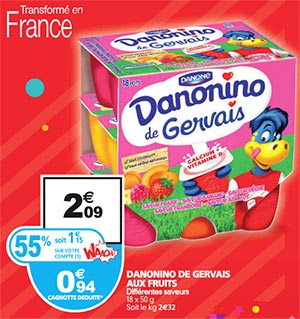 Promotion Danonino De Gervais chez Auchan