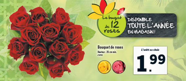 Bon plan lidl bouquet de 12 roses 1 99 for Prix bouquet de rose fleuriste