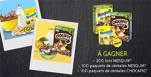 Céréales Nesquik, Chocapic et cadeaux Nestlé à gagner