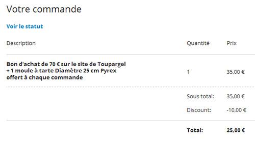 Groupon : Coupon d'achat Toupargel de 70€