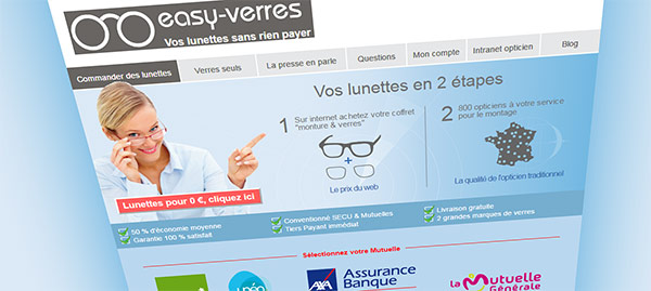 Paire de lunettes de vue gratuites sur Easy-verres.com