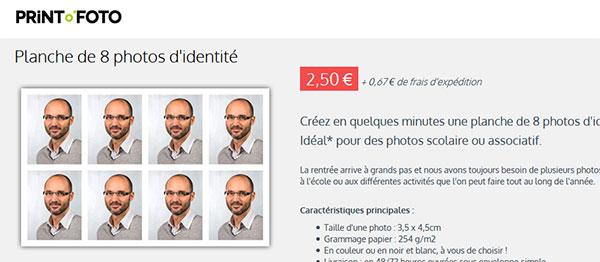 Développement de photos d'identité à petit prix sur internet