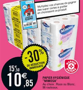 Promotion Papier WC Mimosa chez Leclerc