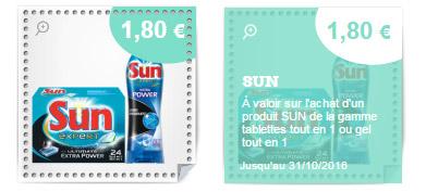 bon de réduction tablettes lave-vaisselle Sun