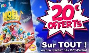 Bon plan Toys'R'Us : 20€ offerts en bon d'achat dès 100€