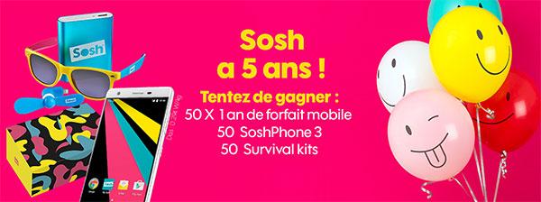 Jeu anniversaire Sosh : 150 cadeaux à gagner pour ses 5 ans