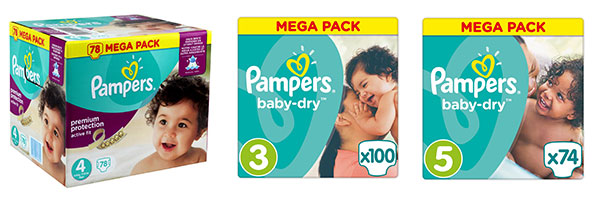 Pampers 5 packs de couches pour au lieu de 133 - Promo couche pampers carrefour ...