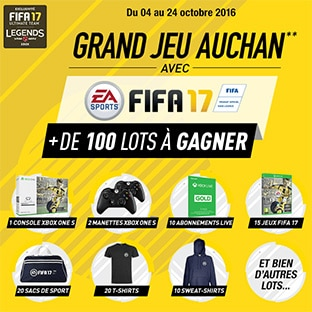 Auchan : 103 cadeaux à gagner (console Xbox, Fifa 17 offerts…)