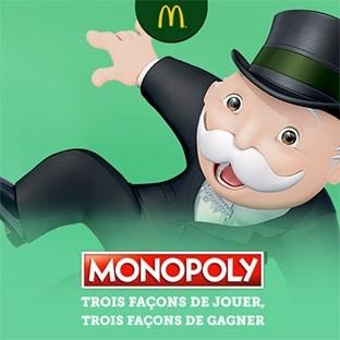 Jeu Monopoly McDo 2019 : Vignettes gratuites et lots à gagner