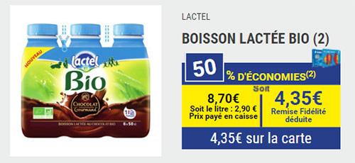 Lait Bio chocolaté Lactel en promo chez Carrefour Market