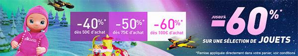 Jusqu'à 60% de réduction sur les jeux et jouets d'Auchan