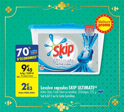 Promotion Carrefour sur la lessive Skip Ultimate