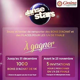 jeu casino dance avec les stars 1000 bons d achat gagner. Black Bedroom Furniture Sets. Home Design Ideas