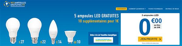 MesAmpoulesGratuites.fr : pack d'ampoules LED offertes chez soi : bon plan 2016