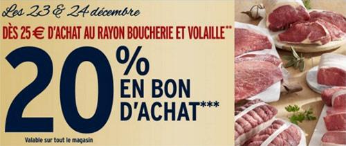 Intermarche : 20% en bon d'achat dès 25€ dépensés dans le rayon boucherie et volaille