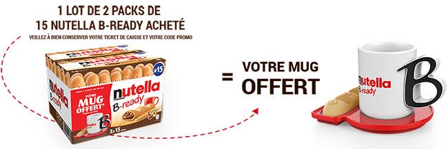 Un lot de 2 packs de 15 Nutella B-ready achetés = 1 mug gratuit