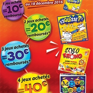 ODR jeux Goliath Noël 2016 : Jusqu'à 40€ remboursés