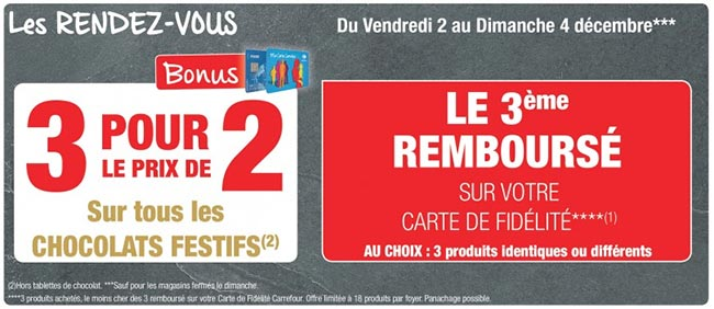 Offre de remboursement Carrefour sur les chocolats