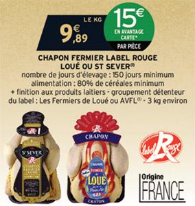 Promotion Intermarché : Chapon Label Rouge Loué ou St Sever moins cher
