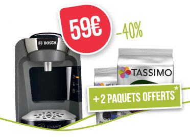 Réduction de 40% sur la machine Tassimo Suny Noire