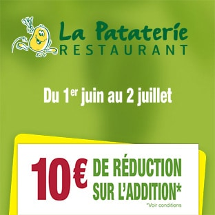 Restaurants la pataterie bon de r duction de 10 - Bon de reduction delamaison ...