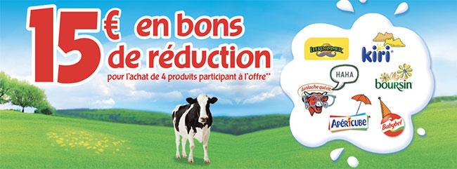 15€ en coupons de réduction offerts pour 4 fromages achetés