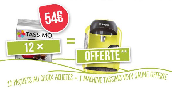 12 paquets de boissons Tassimo achetés = Machine Vivy offerte