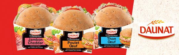 Testez gratuitement les sandwichs Le Savoureux de Daunat