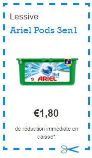 Bon de réduction Ariel Pods 3en1 sur Envie de Plus