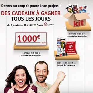 Jeu 100% gagnant YouJustDo : 1000€, 119 kits de bricolage…