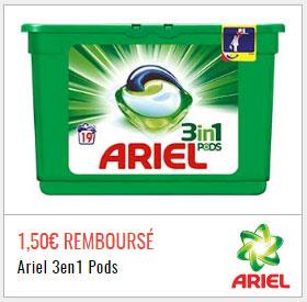 Offre de remboursement sur la lessive Ariel sur Quoty