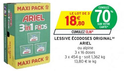 Coupons reduction lessive ariel