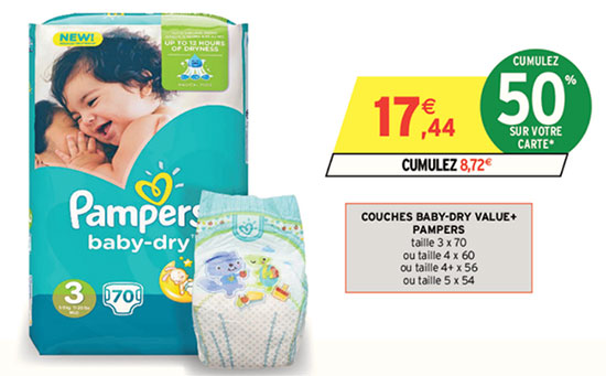 Intermarch couches pampers pas ch res pack 8 72 bdr - Promo couche pampers carrefour ...