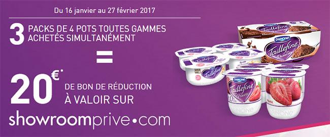 Bon d'achat Showroomprive.com de 20€ pour 3 produits Taillefine achetés