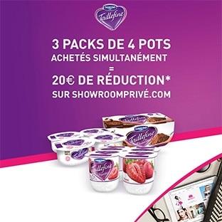 3×4 yaourts Taillefine achetés = 20€ offerts sur Showroomprivé
