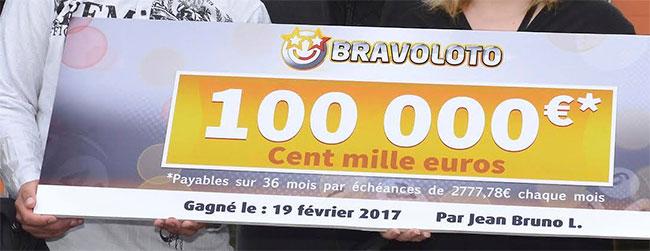 100000 euros gagnés à Bravoloto