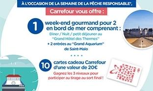 Jeu Carrefour : 1 week-end et 10 cartes cadeaux de 20€ à gagner