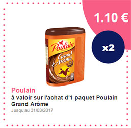 Coupon de réduction sur le chocolat Poulain